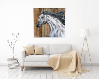 Recycled Pallet Wall Art - White Horse