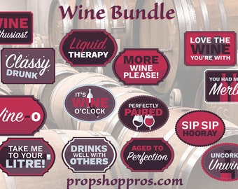 Wine Photo Booth Props | Wine Props | Wine Signs | Prop Signs
