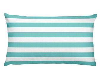 Horizontal Aqua Stripes Rectangular Pillow