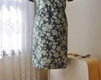 Leafy Green Dress ~ Vintage 1960's Green floral dress