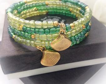 Beach Ready Green Boho Wraparound Bracelet Gift Boxed Summer Ladies Teens Birthday Gift