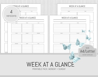 Weekly Planner Printable Weekly Organiser Planner Insert Start Date Monday and Sunday Instant Download A4 and Letter