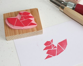 Hand-carved rubber stamp - Origami Squirrel