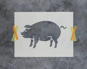 Pig Stencil - Reusable DIY Craft Stencils of a Pig Silhouette