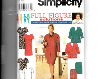 Simplicity Women's Dress or Top, Skirt and Jacket Pattern 7740