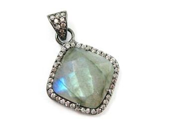 Pave Bezel Gemstone Pendant Labradorite, CZ Pave Oxidized Sterling Silver Frame,Faceted Bezel Gem Diamond Shape-17mm-SKU: 201152-LAB
