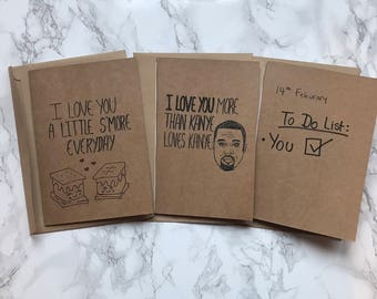 Handmade Funny Valentines Card (Choose from 4 options)