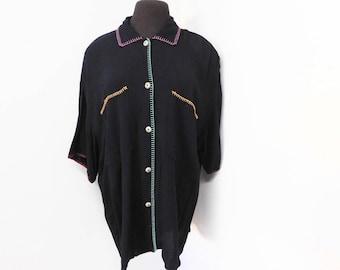 Vintage 90s Black Rayon Cotton Blouse Multicolor Stitching CAROLE LITTLE Rainbow Buttons Loose Oversized L Xl