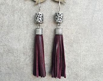 Tassel earrings Burgundy wine leather earrings Boho earrings Bohemian earrings Leather tassel earrings Sterling silver earring hook