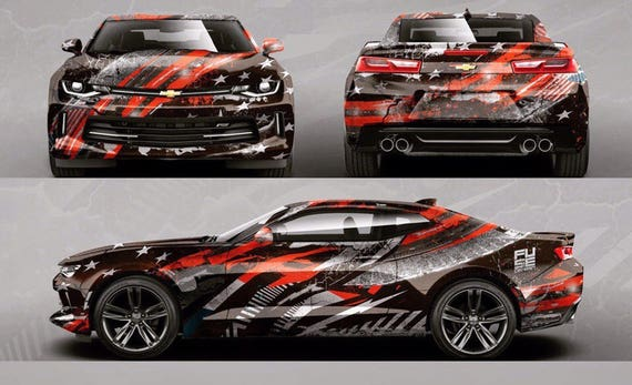 Custom car hood sticker trunk decal full body livery vinyl wrap stripes stars usa flag urban camouflage