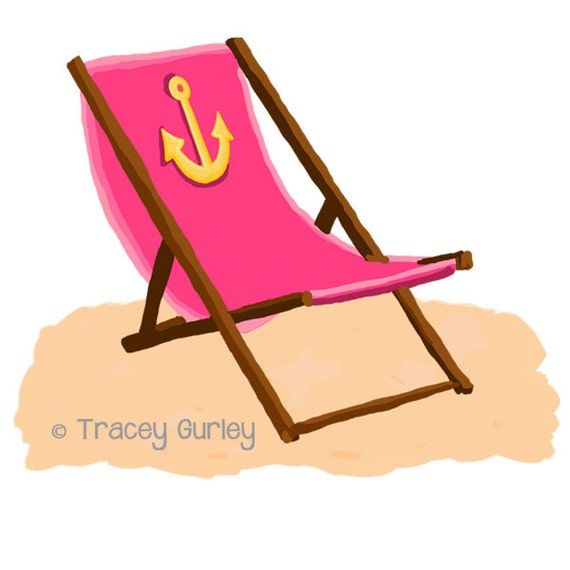 pink beach chair with anchor with and without sand rh etsy com beach chair clip art free beach chairs clipart images