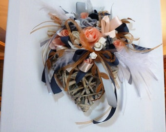 heart Wicker, feathers, roses, ribbons, canvas painting: bouquet freshness