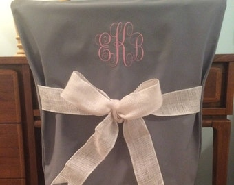Gray Monogram Dorm Chair Back Cover / Personalized chair Cover / Office Chair / Dining Chair/ Slip cover/One Size Fits Most