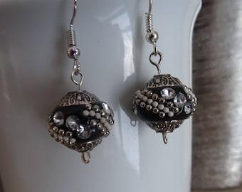 Rhinestones in brass and black earrings / boho chic earrings / unique