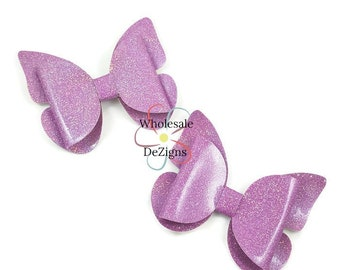 "Lavender Vinyl Glitter Butterfly Bows 3.25"" Shimmery Bow with Tails Light Purple Faux Leather Single Loop DIY Headband Hair Clip - 2 Bows"