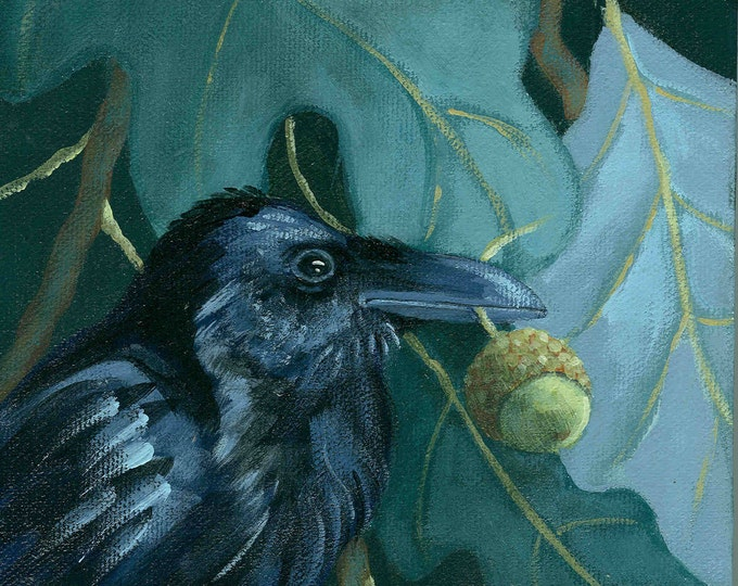 Raven's Bounty acorn and raven greeting card