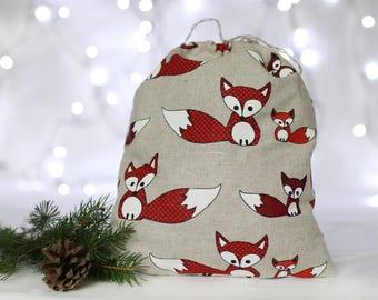 Drawstring fox bag: Christmas gift bag, linen Fox bag, holiday gift bag, Woodland gift bags, fox pouch, gift Sack, gift packaging, gift wrap