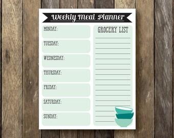 Printable Weekly Meal Planner - Instant Download - Meal Calendar - Weekly Meal Planner - Meal Plan Printable - Dry Erase Meal Planner