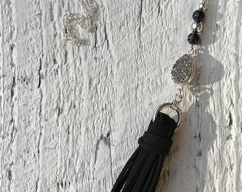 Stunning druzy quartz, black agate suede tassel necklace on aterling