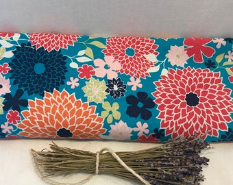 Modern Dahlias 14x6 Heat and Cold Lavender Aromatherapy Pillow