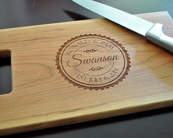 Cutting Board Personalized Chopping Block Laser Engraved 8x14 Monogram Cutting Board CB814SWAN