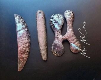 Destash- Rosa Viejo- vitreous enamel on fold formed copper, ooak