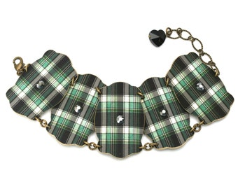 Green Blue Plaid Bracelet Jewelry Bracelet Shrink Plastic Shrink Plastic Bracelet Chain Linked Bracelet Cuff Bracelet Brass Bracelet