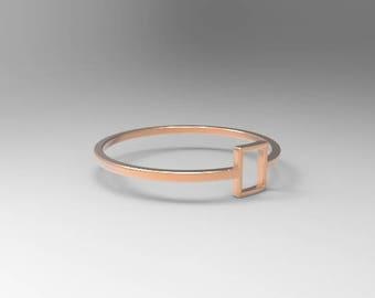 Rectangle Ring - Geometric Jewelry - Rectangular Ring