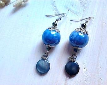 Blue ceramic earrings, Drop earrings, Blue jewelry, Woman earrings, Gift for her, Woman jewellery, Special occasion earrings, Blue boho gift