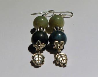 Green & Silver Leaf Earrings