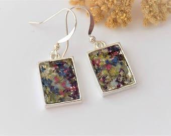 Real Flower Dangle Earrings, Bohemian, Floral Jewelry, Jewellery, Hippie Style Jewelry, Nature, Drop Earrings, Silver Earrings, Bezels