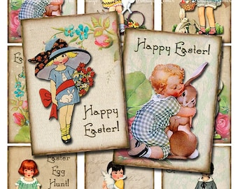 INSTANT DOWNLOAD, Vintage Easter Girls, Digital Collage Sheet, Printable Download, ATC sized