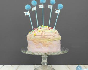 Personalised Pom Pom Cake Toppers - 5 Pom Pom Cake Toppers - Children's Birthday Cake Toppers -  Baby Shower Cake Topper - Party Cake Topper