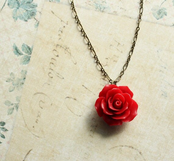 Red rose necklace red flower pendant resin floral jewellery mozeypictures Choice Image