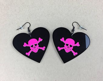 READY MADE SALE - Dangerous Heart of a Smitten Girl Earrings - Black and Neon Hot Pink Heart Skull Earrings (C.A.B. Fayre Original Design)