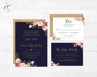 Floral Wedding Invitation Navy Blue Gold Instant Download Editable Printable Wedding Invitation Suite Rustic Wedding Invite Printable