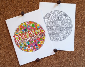 Dwell In Possibility Coloring Card / Add Your Own Color / Coloring Page / Encouragement / Inspirational Quote