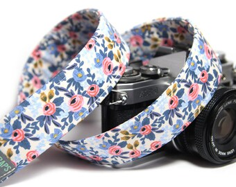 Floral Camera Strap, Rifle Paper Co Les Fleurs, Rosa in Periwinkle