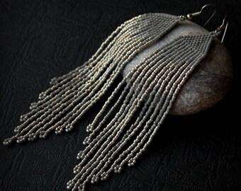 Long dangle earrings for women Gray sparkly earrings Beaded fringe earrings Fashion elegant earrings Evening earrings Seed bead earrings