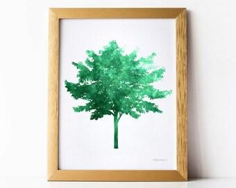 Green Tree Print, Green wall art DIY Printable print, Dark Green Nature art Tree wall decor, Green print, Tree wall print Home decoration