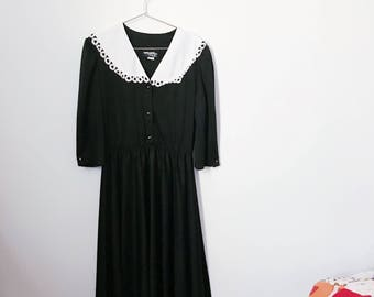 vintage 80s black and white collared dress (medium) – free us shipping