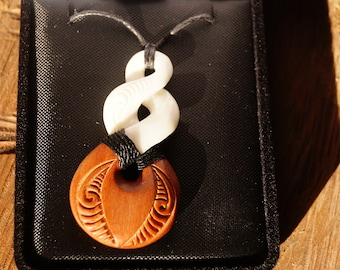 Wood and Bone twist Pendant