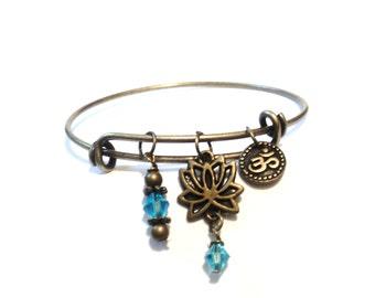 Namaste Bangle Bracelet Yoga Jewellery Lotus Aqua Blue Om Ohm Aum Spiritual Charm Boho Adjustable Gift For Her Christmas Stocking Stuffer