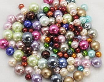Set of 100 pearls multicolored glass, 3-10mm