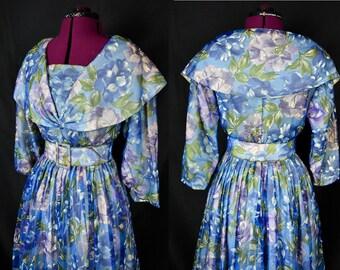 VTG 1950s Floral Dress   Paris Couture Dress   Blue Lavender Floral Dress   La Palliere Paris Dress   Swing Dress  Pin Up Rockabilly Swing