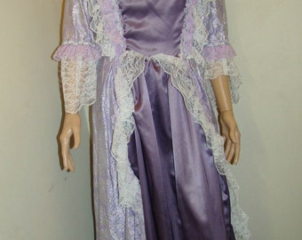 Colonial Woman's Costume Marie Antoinette Gown Lace Choker & Cap Handmade One-of-a-Kind Halloween Theater