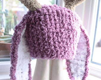 Jackalope Hat, Newborn to Adult Bunny Hat, Crochet Baby Hat, Bunny Costume, Bunny Beanie, Antlers Hat, Plum Jackalope Beanie Easter