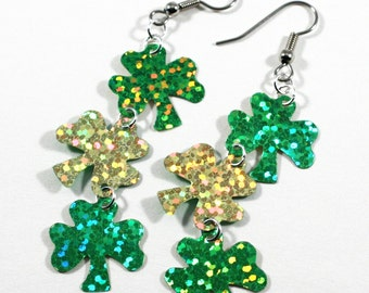 Sparkly Shamrock Earrings Green & Gold Hologram Dangles St Patrick's Day Earrings Plastic Sequins