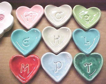 Tiny Heart Dish | Bridesmaid Gift | Wedding Favors | Custom Initials | Ceramic Pottery Small Bowl