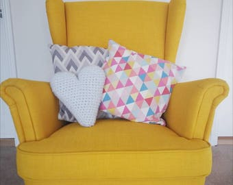 Grey Crochet Heart Cushion // Novelty Cushion // Pillow // Vegan